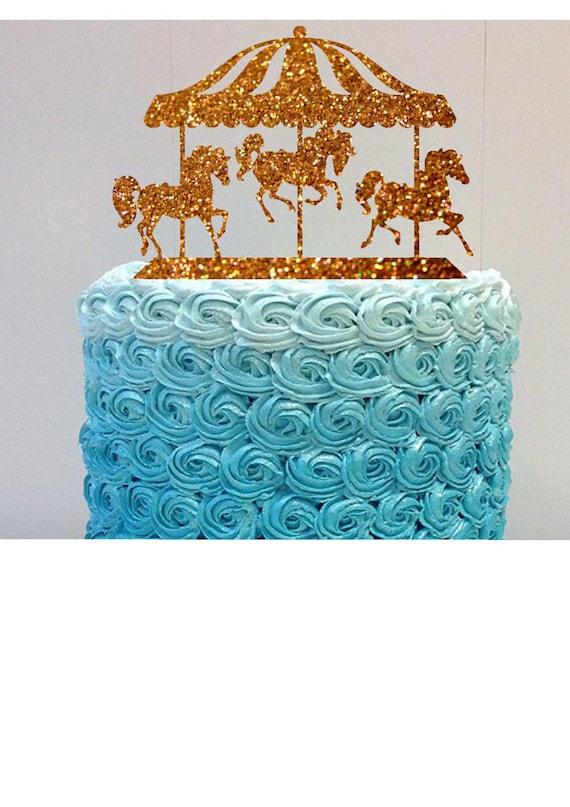 Happy Birthday Cake Topper Carousel Horses Cake Topper Glitter Etsy