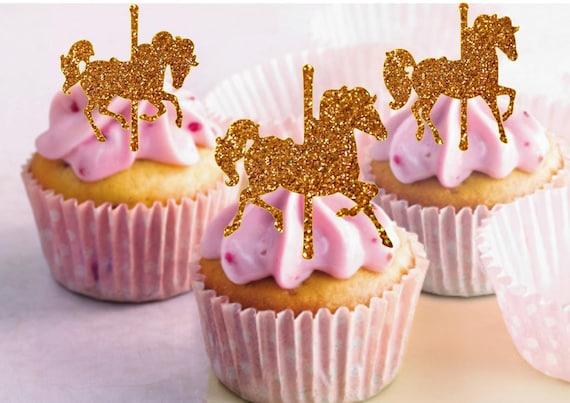Karussell Pferde Cupcake Topper Glitter Karussell Pferde Etsy