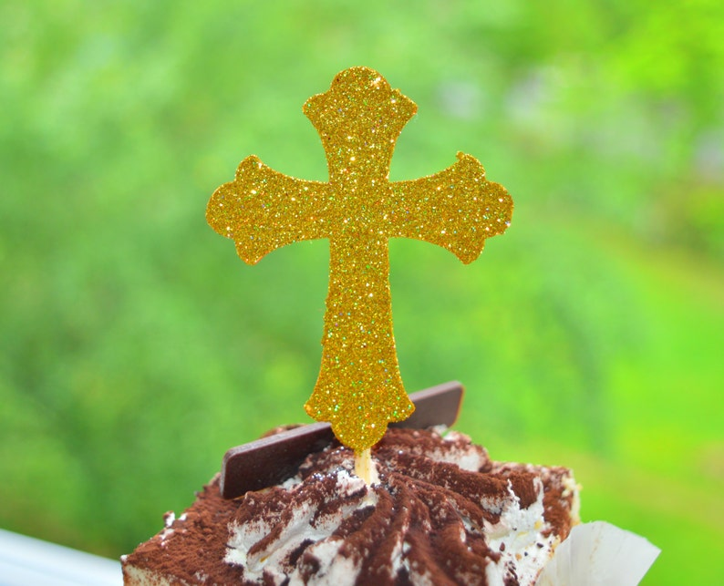 Baptism Cupcake Toppers Christening Cupcake Toppers Cross image 0