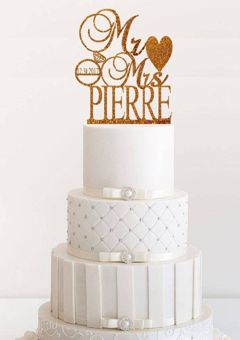 Wedding Cake Topper Personalized Wedding Cake Topper Rose Gold image 0