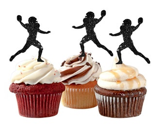 Football Cupcake Toppers Football Party Boy's Birthday Cupcake Toppers Sports Cupcake Topper Football Team Party Cupcake Toppers