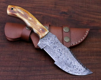 Damascus Tracker Knife with Horizontal Sheath / Holster - Handmade, Hunting, Camping, Bushcraft, Survival, Anniversary Gift, Gift for Him