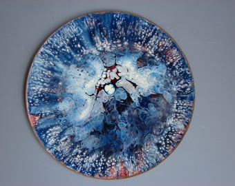 Wonderful enamel copper plate vintage Mid Century Modern abstract plate