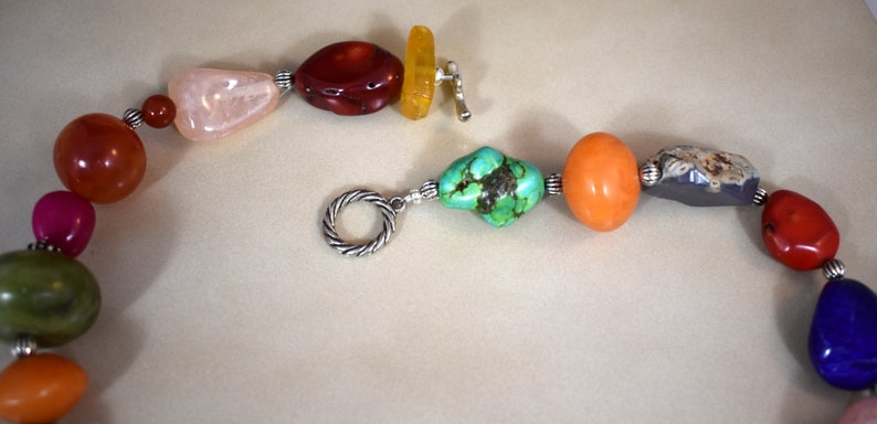 Jade Gorgeous necklace with Baltic Amber Carnelian Fiesta San Antonio Lapis Lazuli Rose Quartz Turquoise