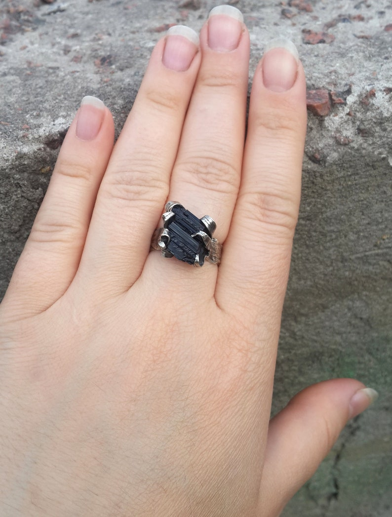 Gothic Jewelry Gothic Ring Natural Schorl Crystal Ring Witch Jewelry Schorl Ring Amulet Black Tourmaline Ring Witch Ring Black Ring