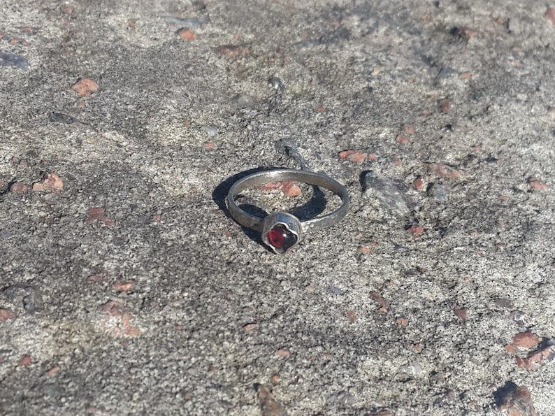 Raw Garnet Jewelry Hand Forged Ring Natural Garnet Ring Medieval jewelry Hammered Ring Red Garnet Ring Viking Ring Medieval Ring