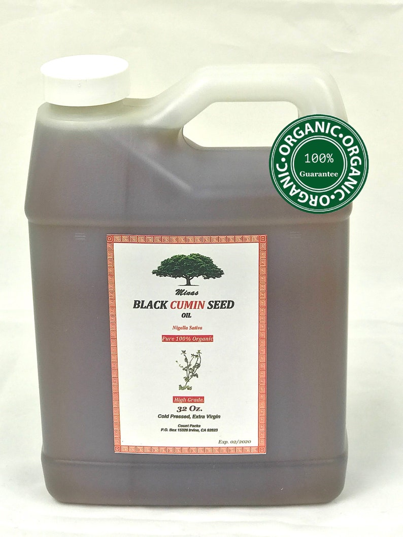 MEDITERRANEAN ORGANIC Black CUMIN Seed Oil 100 % Blessed Seed Nigella  Sativa, Baraka cold Pressed Habat Al Baraka choose your size