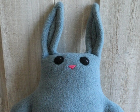 Blue plush stuffed bunny rabbit toy, woodland nursery decor, baby shower gift