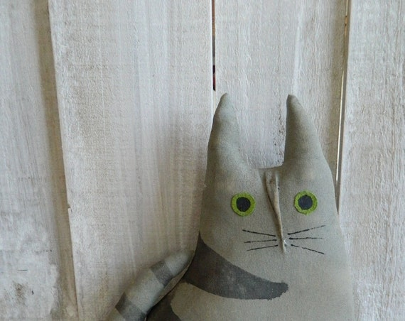 Primitive fabric cat art doll, handpainted muslin gray and black cat, cat pillow, gift for cat lovers