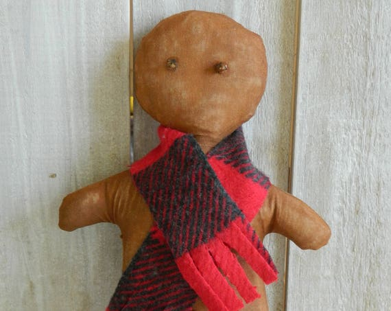 Primitive Christmas gingerbread man, rustic holiday home decor, stuffed gingerbread man