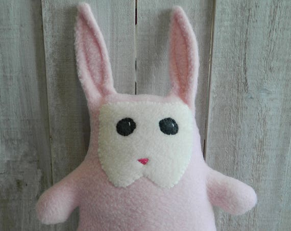 Pale pink plush bunny, rabbit fabric plush, stuffed bunny doll, plush bunny, woodland animals, forest animals, woodland nursery, baby toy