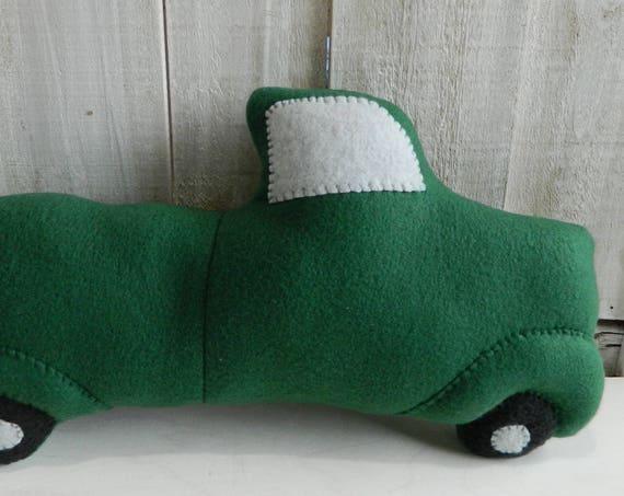 Vintage style stuffed green fleece truck, home decor, country decor, cabin decor, gift for girls, gift for boys, nursery decor plush truck