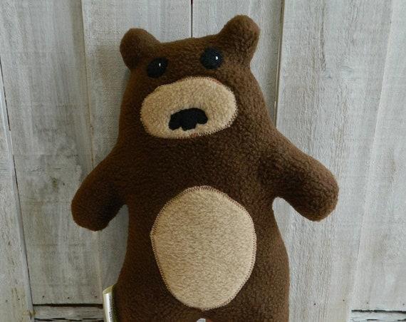 Stuffed plush teddy bear toy, woodland nursery, forest animals, bear stuffed softie, friendly bear toy, baby shower gift, nursery decor