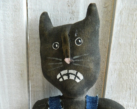 Painted muslin black cat, cat art doll, Halloween decor, Fall decor, cat doll, primitive cat