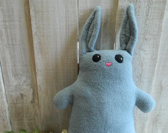 Blue plush stuffed bunny rabbit toy, woodland nursery decor, baby shower gift