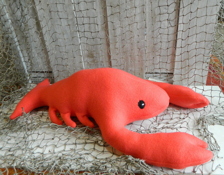 Stuffed Orange Red Lobster Plush Toy Sea Life Plush Nautical Decor