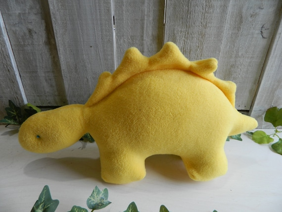 Plush yellow Stegosaurus stuffed animal, dinosaur baby toy, nursery decor, baby shower gift