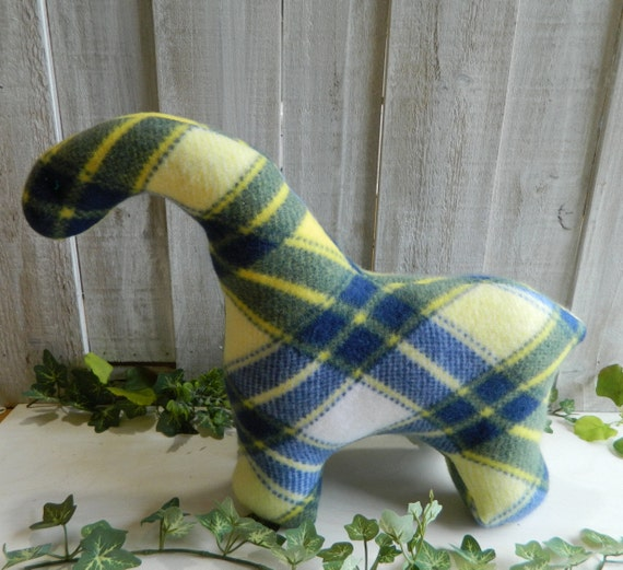 Blue and yellow plaid stuffed brontosaurus toy, baby shower gift, nursery decor, dinosaur stuffed animal
