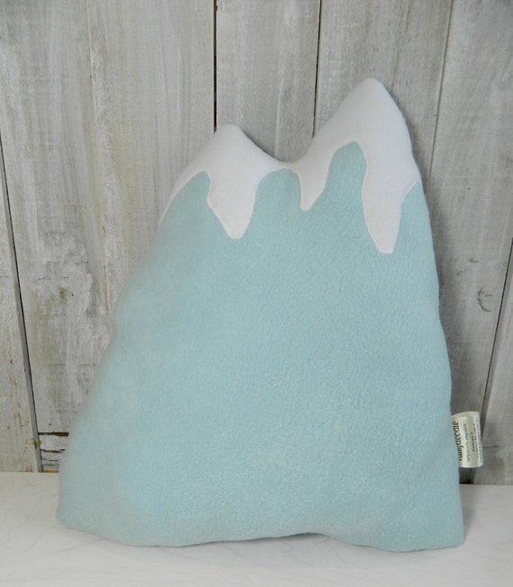 Light blue mountain pillow, woodland decor, home decor, nursery decor, cabin decor, woodland nursery decor, RV decor, toddler room decor
