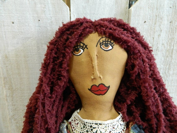 Primitive girl art doll, country home decor, rustic doll, primitve home decor