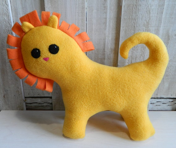 Stuffed yellow lion plush toy, safari nursery, safari animal toys, jungle nursery, jungle baby shower, stuffed animal, safari baby shower
