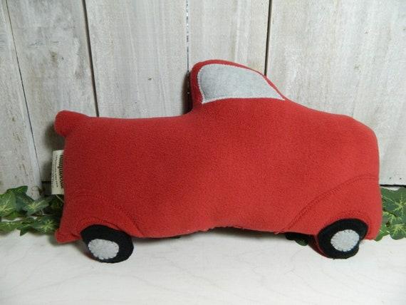 Vintage style stuffed red fleece truck, home decor, country decor, cabin decor, gift for girls, gift for boys, nursery decor plush truck