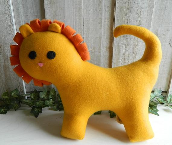 Stuffed yellow lion plush toy, safari nursery, nursery decor, stuffed zoo animal, baby shower gift