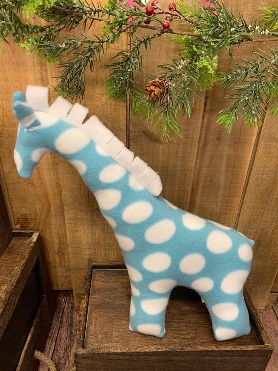 Small stuffed fleece giraffe toy, gift for girls and boys, giraffe baby shower gift, zoo theme stuffed animal