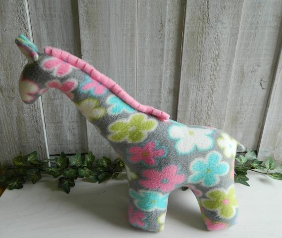 Small stuffed fleece giraffe toy, stuffed zoo animal, baby shower gift, nursery decor