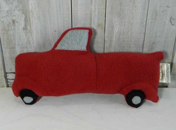 Vintage style stuffed red fleece truck, home decor, country decor, cabin decor, gift for girls, gift for boys, nursery decor plush truck