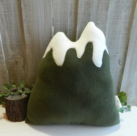 Olive green mountain pillow, woodland cabin or RV decor, nursery decor
