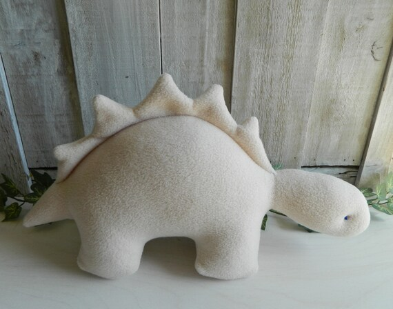 Plush cream Stegosaurus stuffed animal, dinosaur baby toy, nursery decor, baby shower gift