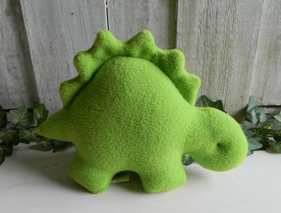 Small stuffed lime green dinosaur toy, baby shower gift, nursery decor, small stegosaurus