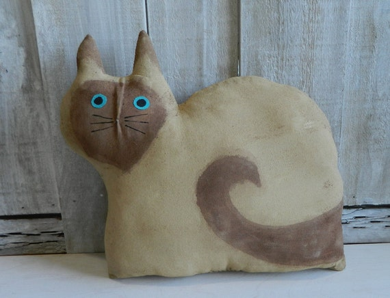Primitive fabric cat art doll, handpainted muslin Siamese cat, cat pillow, gift for cat lovers