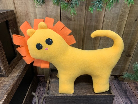 Stuffed yellow lion plush toy, safari nursery, nursery decor, stuffed zoo animal, baby shower gift