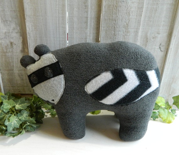 Plush raccoon stuffed animal, woodland nursery, baby shower gift