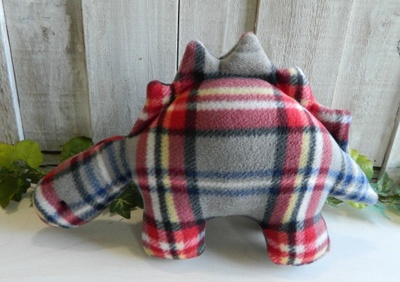 Plush red and gray plaid Stegosaurus stuffed animal, dinosaur baby toy, nursery decor, baby shower gift