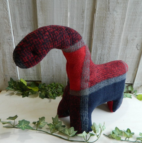 Red and blue plaid stuffed brontosaurus toy, baby shower gift, nursery decor, dinosaur stuffed animal
