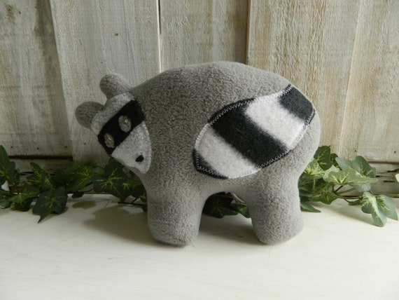 Plush baby raccoon stuffed animal, woodland nursery, baby shower gift