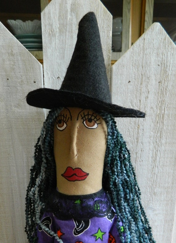 Primitive Halloween witch art doll autumn decoration fall rustic home decor