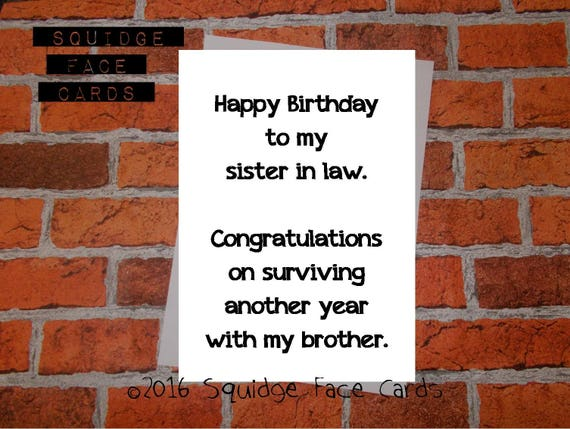 Funny Birthday Card Happy Birthday To My Sister In Law Etsy