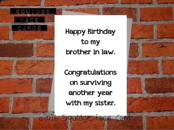 Funny Birthday Card Happy Birthday To My Brother In Law Etsy