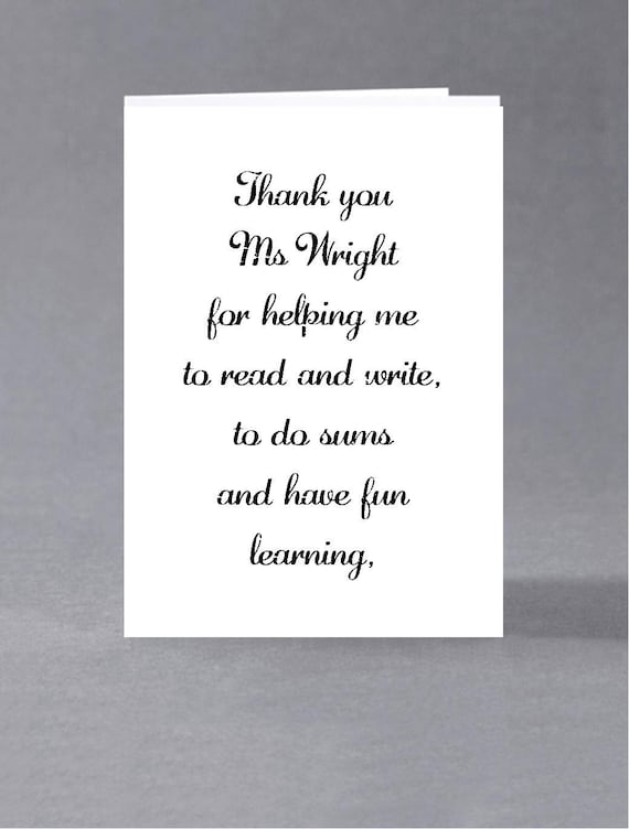 End Of Term Teacher Teaching Assistant Thank You Card Etsy
