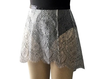 Ballet Wrap Skirt | Ivory-Black Gigi Eyelash Chantilly Lace Adult Ballet Skirt | Made to Order | Dance Practice Skirt | Ballet Dancewear