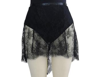 Black Alexandra Eyelash Chantilly Lace Ballet Wrap Skirt | Made to Order | Adult Ballet Skirt | Elegant Dance Practice Skirt