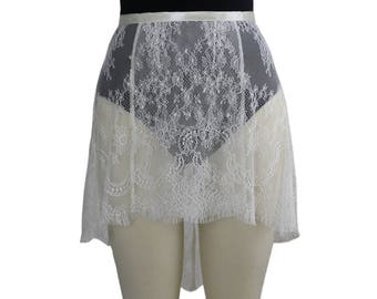 Ivory Alexandra Eyelash Chantilly Lace Ballet Wrap Skirt | Made to Order | Adult Ballet Skirt | Dance Practice Skirt | Ballet Dancewear
