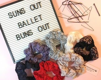 Lace Hair Scrunchie | Chouchou | Lace Hair Tie | Lace Hair Elastic | Ballet Bun Wrap | Ponytail Holder | Hair Elastic