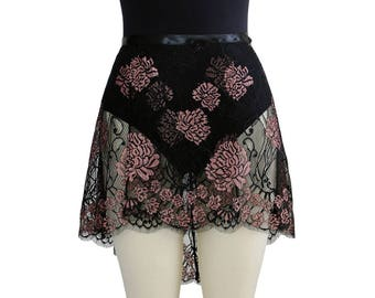 Lace Ballet Wrap Skirt | Adult Ballet Skirt | Dance Practice Skirt | Black-Rose Gold Carlotta Cross-Dyed Eyelash Lace | Made to Order