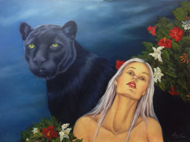 Large original Oil Painting Black panther and woman on image 0