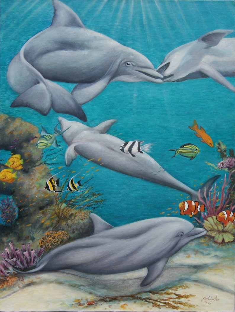 Dolphins Painting Coral Reef Painting Large Original Oil image 0